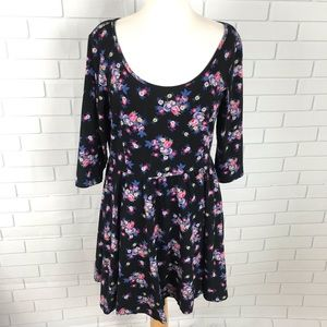 LC Lauren Conrad Peplum dress XL floral black